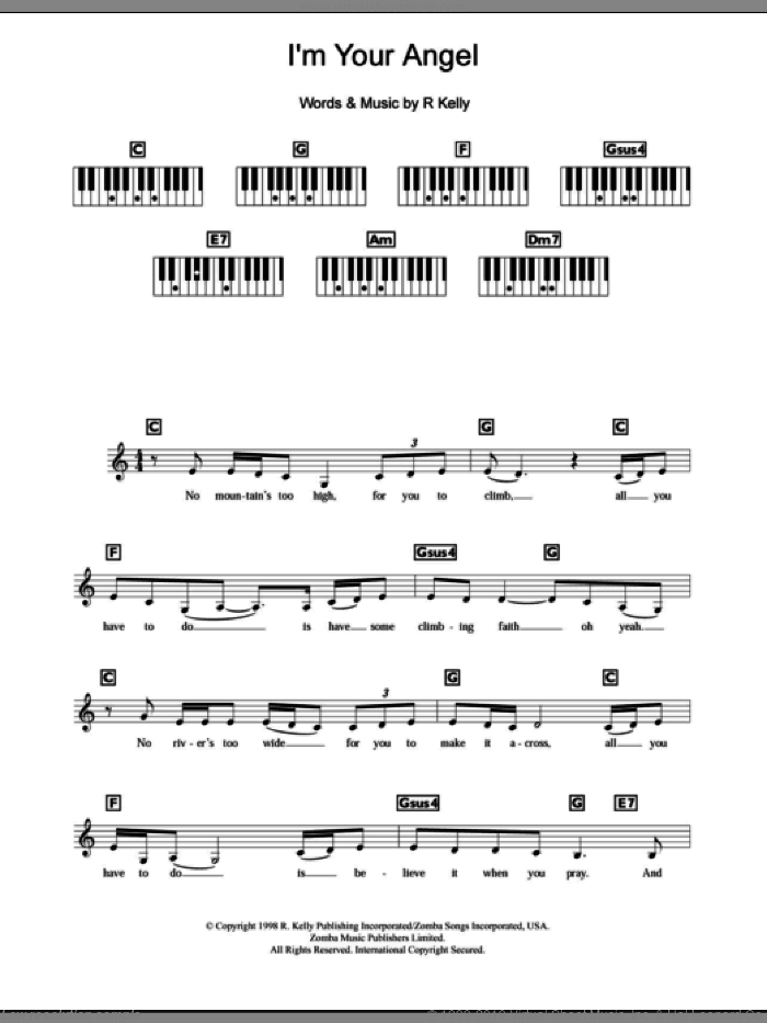 I'm Your Angel sheet music for piano solo (chords, lyrics, melody) by Celine Dion and Robert Kelly, wedding score, intermediate piano (chords, lyrics, melody)
