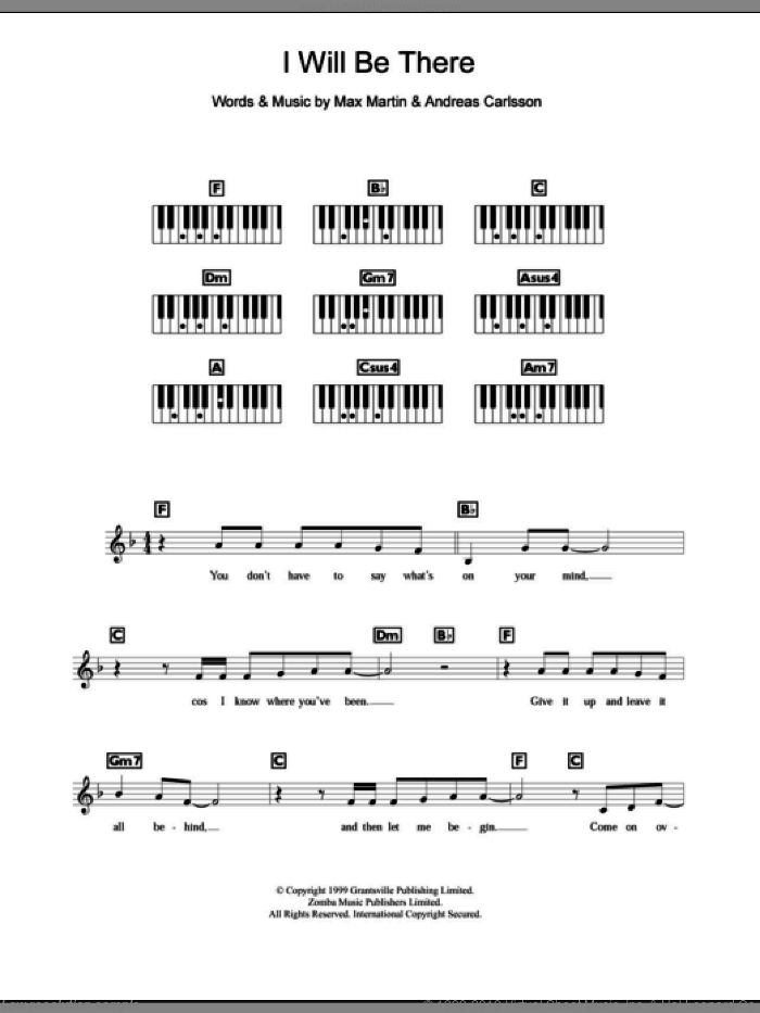 I Will Be There sheet music for piano solo (chords, lyrics, melody) by Max Martin, Britney Spears and Andreas Carlsson. Score Image Preview.