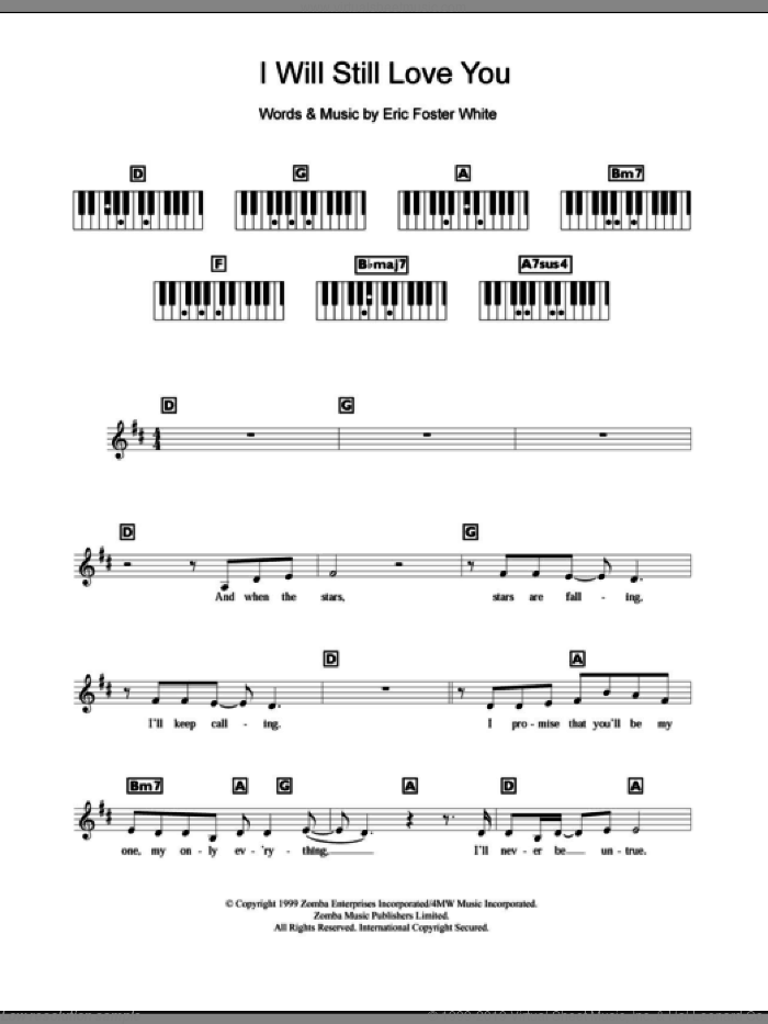 I Will Still Love You sheet music for piano solo (chords, lyrics, melody) by Britney Spears and Eric Foster White. Score Image Preview.