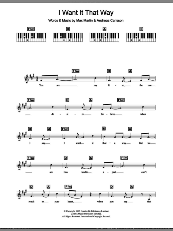 I Want It That Way sheet music for piano solo (chords, lyrics, melody) by Max Martin, Backstreet Boys and Andreas Carlsson. Score Image Preview.