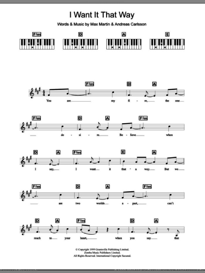 I Want It That Way sheet music for piano solo (chords, lyrics, melody) by Backstreet Boys, Andreas Carlsson and Max Martin, intermediate piano (chords, lyrics, melody)