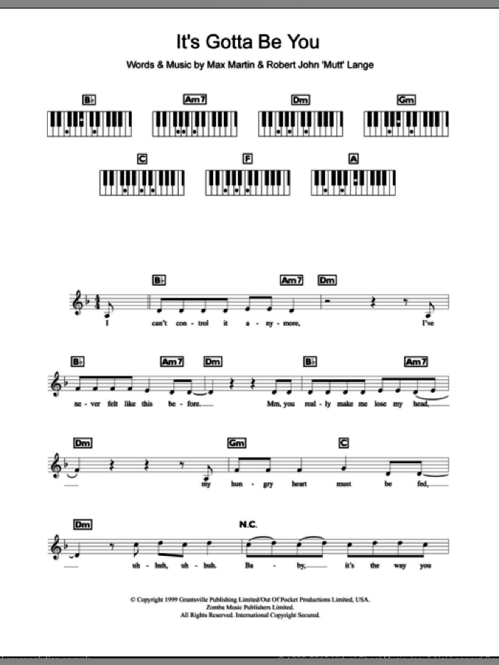 It's Gotta Be You sheet music for piano solo (chords, lyrics, melody) by Robert John Lange, Backstreet Boys and Max Martin. Score Image Preview.