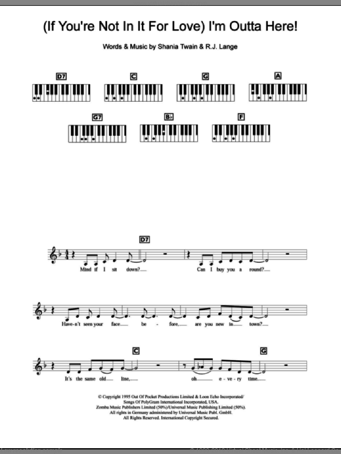 (If You're Not In It For Love) I'm Outta Here! sheet music for piano solo (chords, lyrics, melody) by Shania Twain and Robert John Lange, intermediate piano (chords, lyrics, melody)