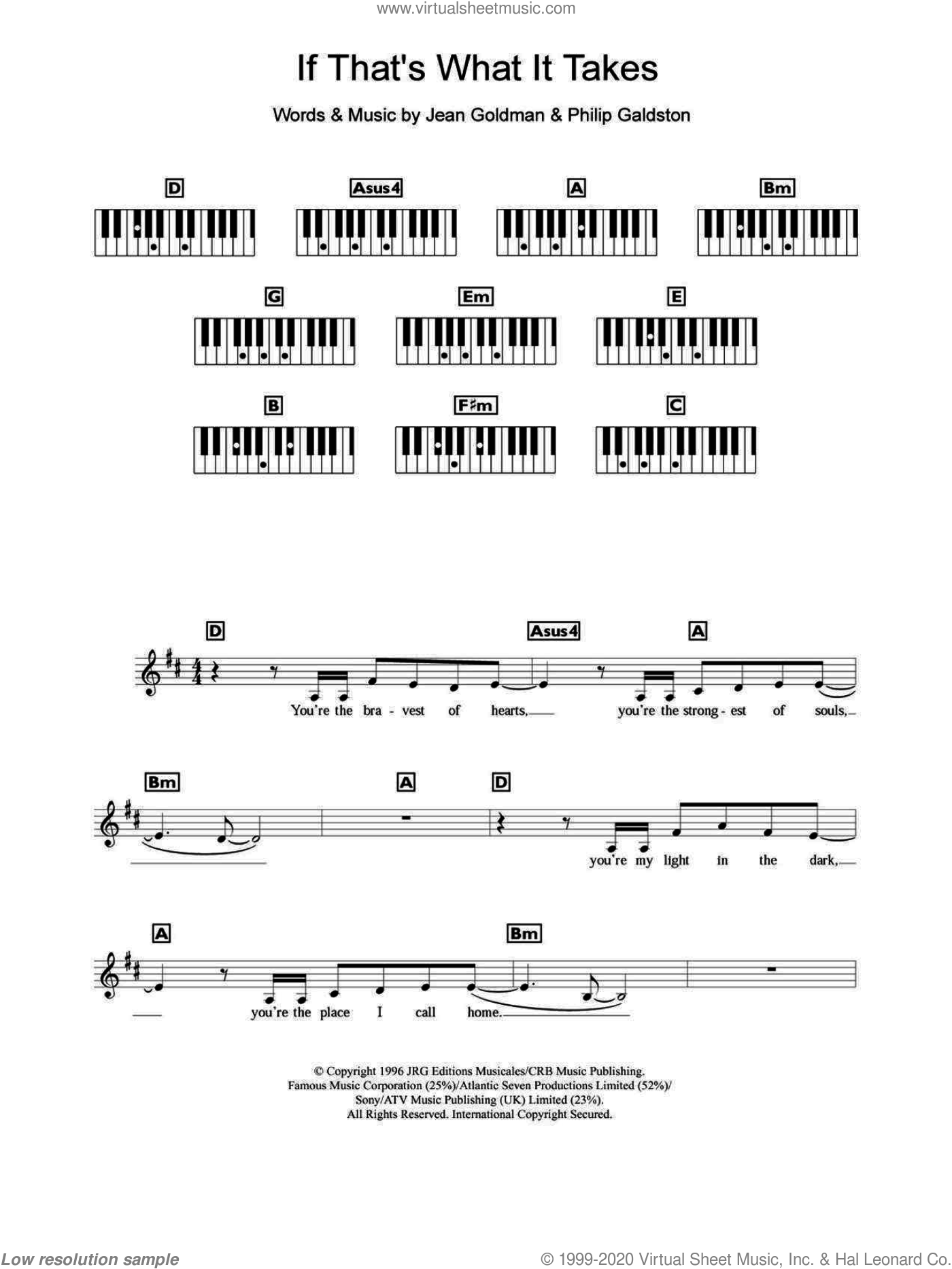 If That's What It Takes sheet music for piano solo (chords, lyrics, melody) by Philip Galdston and Celine Dion. Score Image Preview.