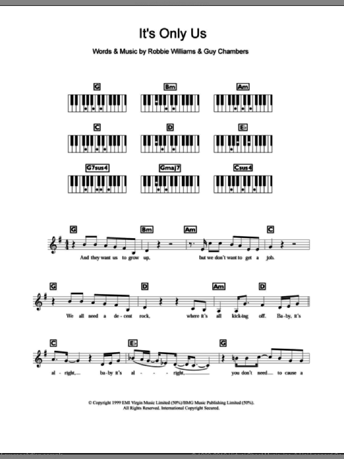 It's Only Us sheet music for piano solo (chords, lyrics, melody) by Guy Chambers and Robbie Williams. Score Image Preview.
