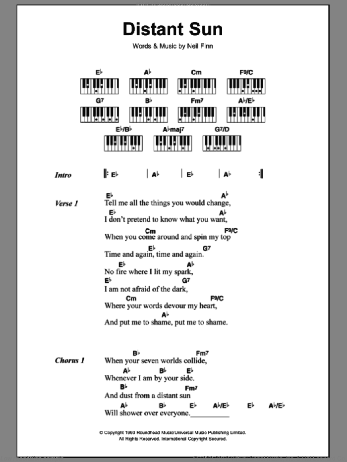 Distant Sun sheet music for piano solo (chords, lyrics, melody) by Neil Finn and Crowded House. Score Image Preview.