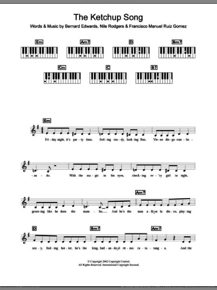 The Ketchup Song sheet music for piano solo (chords, lyrics, melody) by Nile Rodgers, Las Ketchup and Bernard Edwards. Score Image Preview.