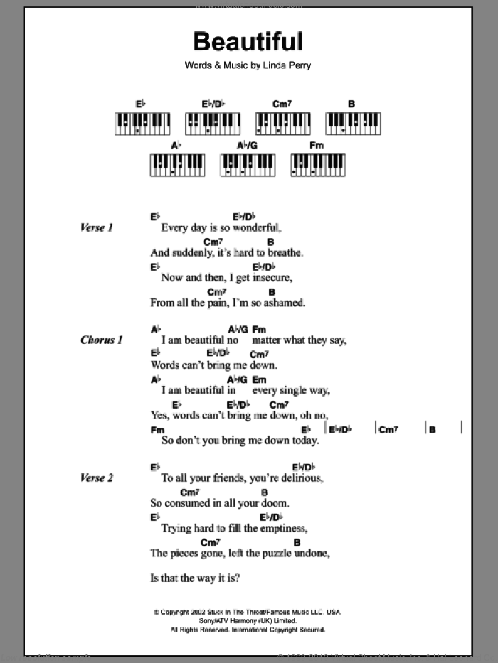 Beautiful sheet music for piano solo (chords, lyrics, melody) by Christina Aguilera, intermediate piano (chords, lyrics, melody). Score Image Preview.