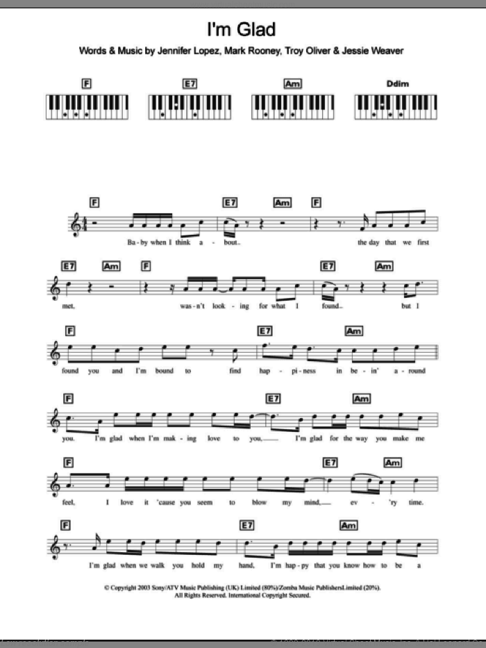 I'm Glad sheet music for piano solo (chords, lyrics, melody) by Jennifer Lopez, Jessie Weaver, Mark Rooney and Troy Oliver, intermediate piano (chords, lyrics, melody)