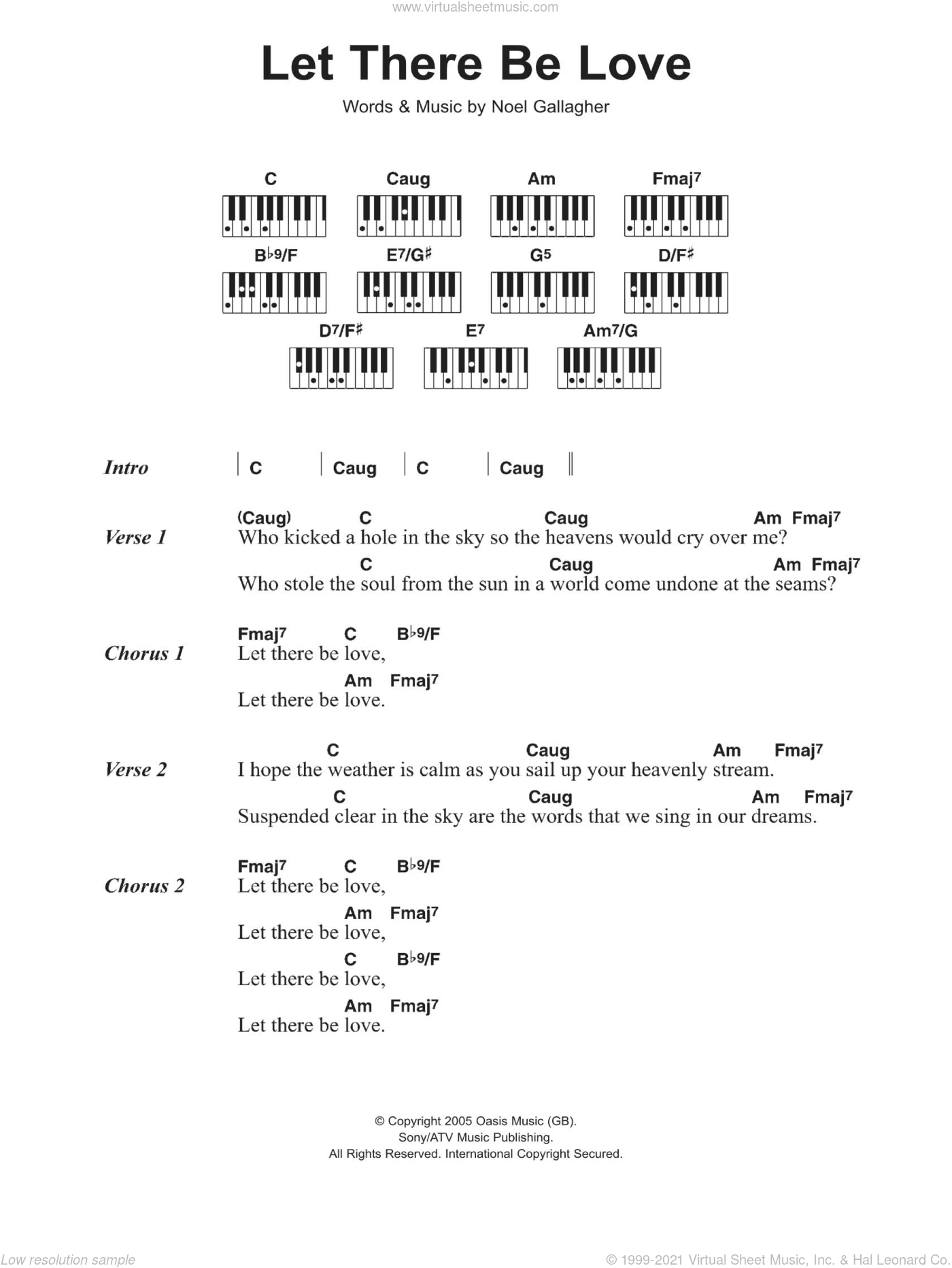 Oasis Let There Be Love Sheet Music For Piano Solo Chords Lyrics