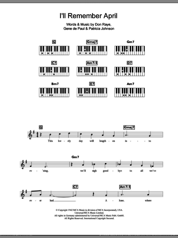 I'll Remember April sheet music for piano solo (chords, lyrics, melody) by Woody Herman, Don Raye, Gene DePaul and Pat Johnson, intermediate piano (chords, lyrics, melody)