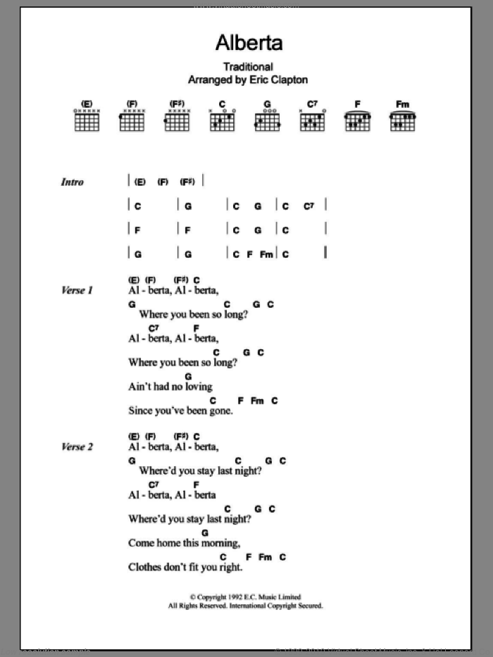 Alberta sheet music for guitar (chords) by Eric Clapton and Miscellaneous, intermediate. Score Image Preview.