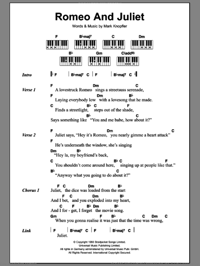 Romeo And Juliet sheet music for piano solo (chords, lyrics, melody) by Dire Straits and Mark Knopfler, intermediate piano (chords, lyrics, melody). Score Image Preview.