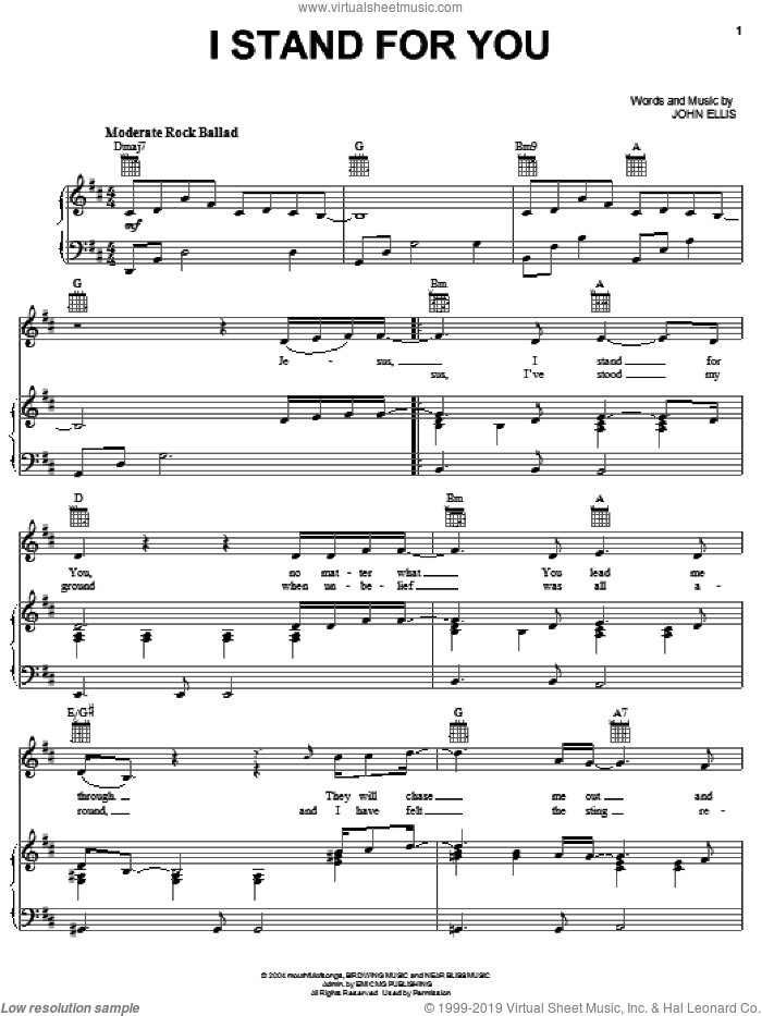 I Stand For You sheet music for voice, piano or guitar by John Ellis. Score Image Preview.