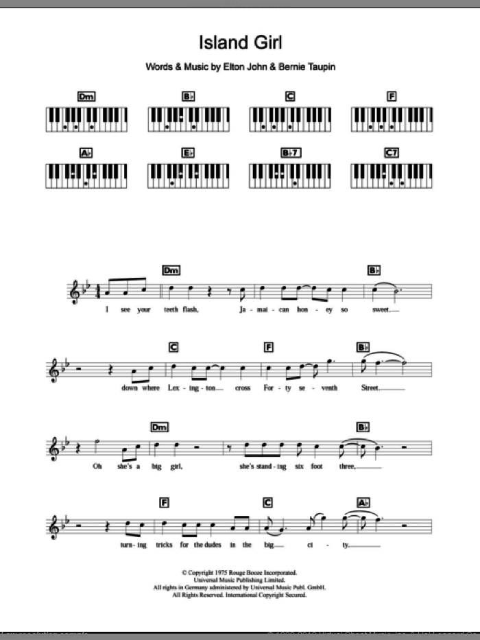 Island Girl sheet music for piano solo (chords, lyrics, melody) by Elton John and Bernie Taupin, intermediate piano (chords, lyrics, melody)