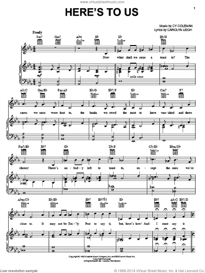 Here's To Us sheet music for voice, piano or guitar by Cy Coleman, Little Me (Musical) and Carolyn Leigh, intermediate skill level
