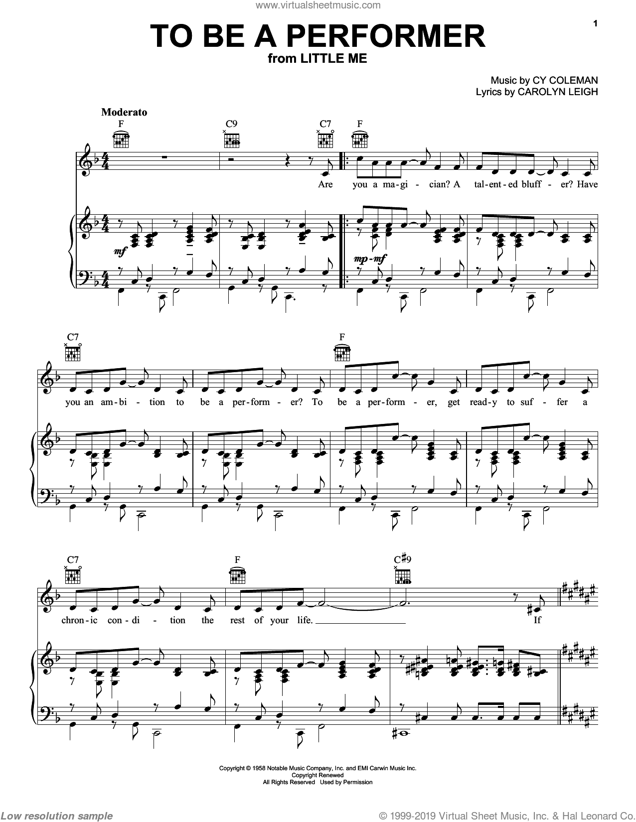 To Be A Performer sheet music for voice, piano or guitar by Carolyn Leigh