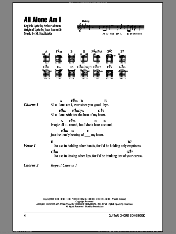 All Alone Am I sheet music for guitar (chords) by Manos Hadjidakis, Brenda Lee and Arthur Altman. Score Image Preview.