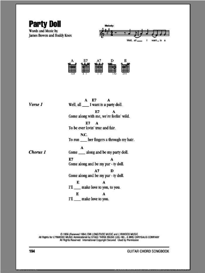 Party Doll sheet music for guitar (chords) by James Bowen and Buddy Knox. Score Image Preview.