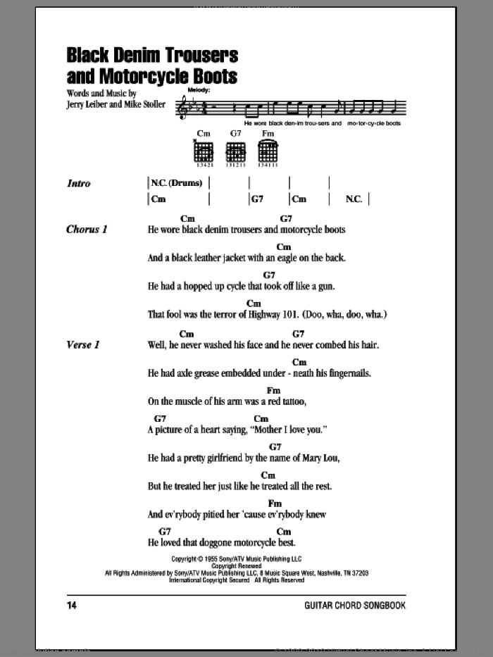 Black Denim Trousers And Motorcycle Boots sheet music for guitar (chords) by The Cheers and Mike Stoller. Score Image Preview.