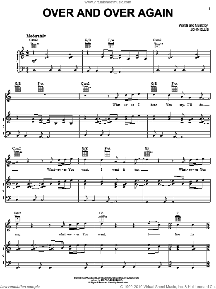 Over And Over Again sheet music for voice, piano or guitar by Tree63 and John Ellis, intermediate skill level