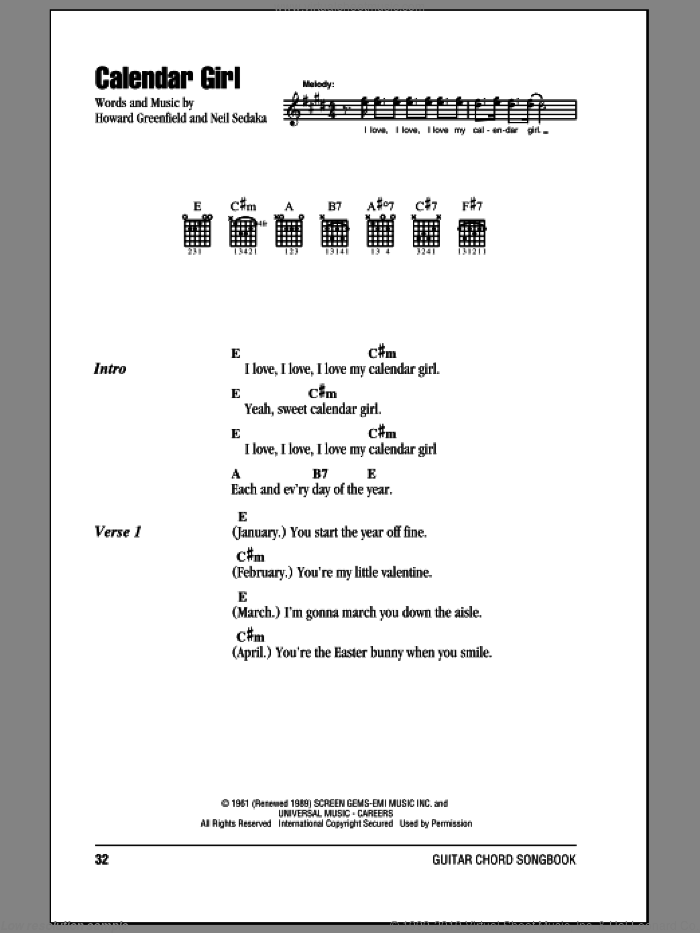 Calendar Girl sheet music for guitar (chords) by Neil Sedaka and Howard Greenfield. Score Image Preview.
