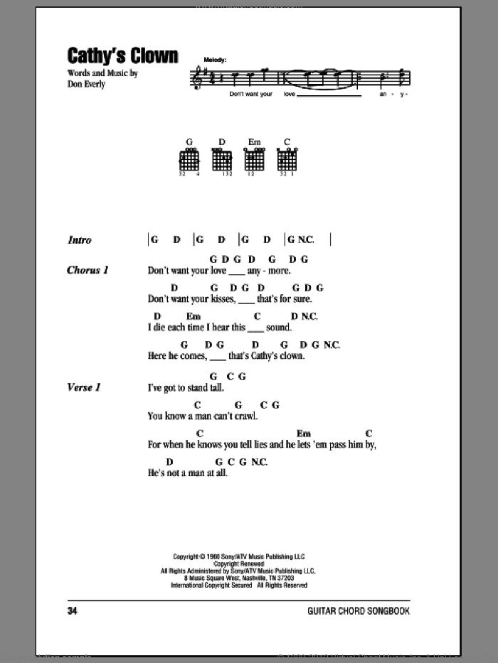 Cathy's Clown sheet music for guitar (chords) by Don Everly, Everly Brothers and Reba McEntire. Score Image Preview.
