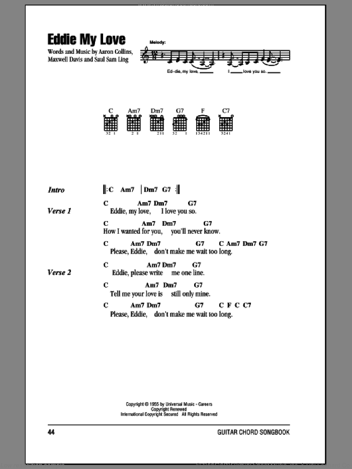 Eddie My Love sheet music for guitar (chords) by Saul Sam Ling and The Chordettes. Score Image Preview.