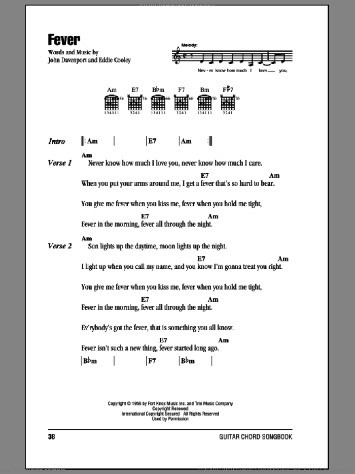 Fever sheet music for guitar (chords) by John Davenport and Peggy Lee. Score Image Preview.