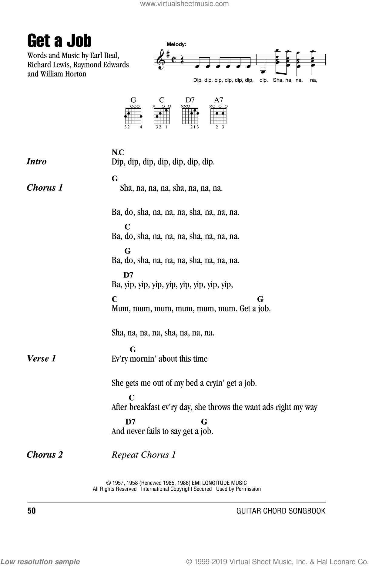 Get A Job sheet music for guitar (chords) by The Silhouettes. Score Image Preview.