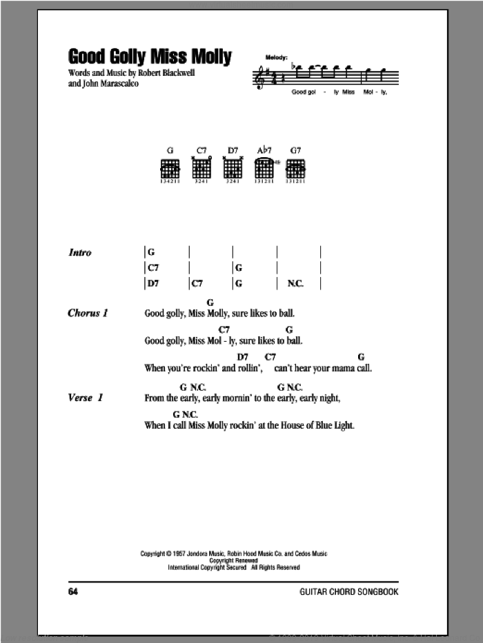 Good Golly Miss Molly sheet music for guitar (chords) by Robert Blackwell and John Marascalco. Score Image Preview.