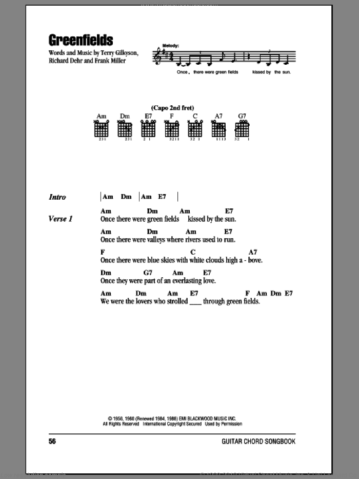 Greenfields sheet music for guitar (chords) by The Brothers Four, Frank Miller, Richard Dehr and Terry Gilkyson, intermediate skill level