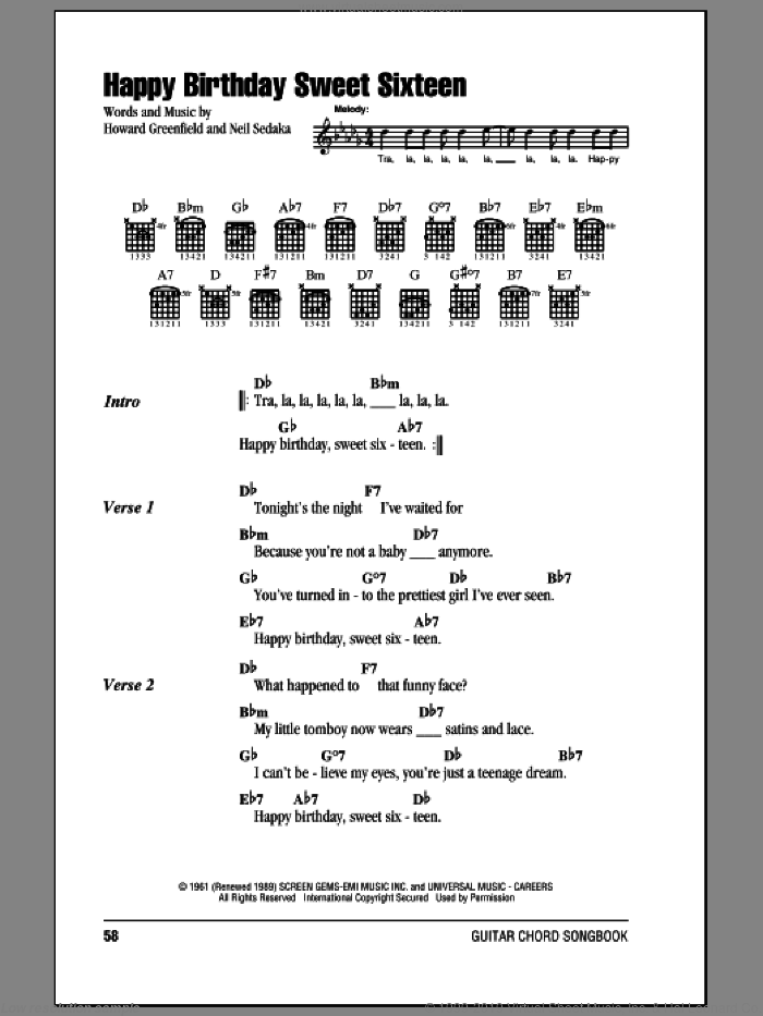 Happy Birthday Sweet Sixteen sheet music for guitar (chords, lyrics, melody) by Howard Greenfield