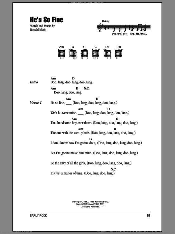 He's So Fine sheet music for guitar (chords) by The Chiffons. Score Image Preview.