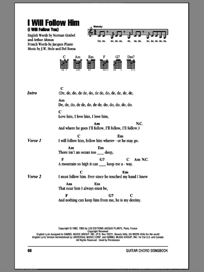 March - I Will Follow Him (I Will Follow You) sheet music for guitar ...