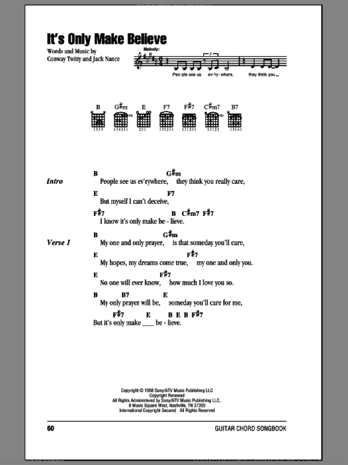It's Only Make Believe sheet music for guitar (chords) by Jack Nance, Glen Campbell and Conway Twitty