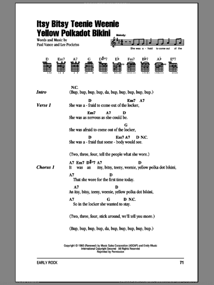 Guitar yellow guitar chords : Vance - Itsy Bitsy Teenie Weenie Yellow Polkadot Bikini sheet ...