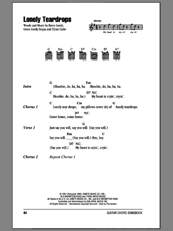 Lonely Teardrops sheet music for guitar (chords) by Tyran Carlo, Jackie Wilson and Berry Gordy. Score Image Preview.