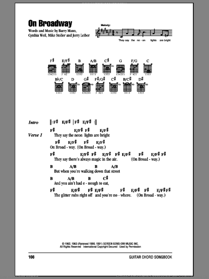 On Broadway sheet music for guitar (chords) by The Drifters, George Benson, Barry Mann, Cynthia Weil, Jerry Leiber and Mike Stoller, intermediate skill level