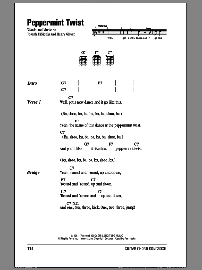 Peppermint Twist sheet music for guitar (chords) by Joey Dee & The Starliters, Henry Glover and Joseph DiNicola, intermediate