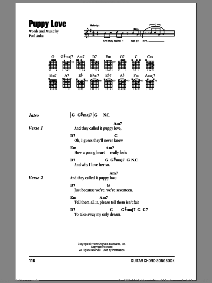 Puppy Love sheet music for guitar (chords) by Paul Anka and Donny Osmond, intermediate. Score Image Preview.
