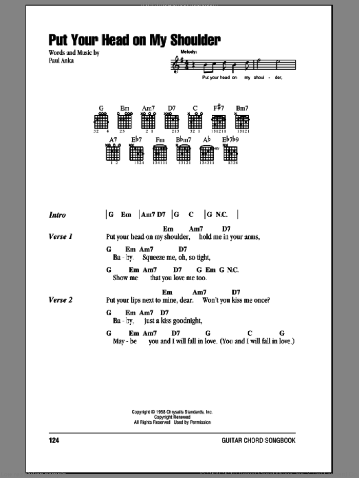 Put Your Head On My Shoulder sheet music for guitar (chords) by Paul Anka, wedding score, intermediate guitar (chords). Score Image Preview.