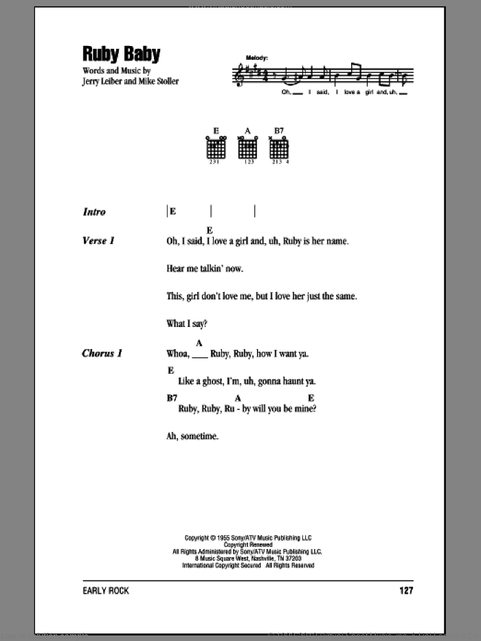 Ruby Baby sheet music for guitar (chords) by Dion, The Drifters, Jerry Leiber and Mike Stoller, intermediate. Score Image Preview.