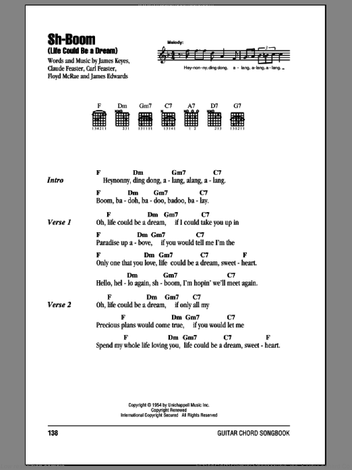 Sh-Boom (Life Could Be A Dream) sheet music for guitar (chords) by The Crew-Cuts, Carl Feaster, Claude Feaster, Floyd McRae and James Keyes, intermediate guitar (chords). Score Image Preview.