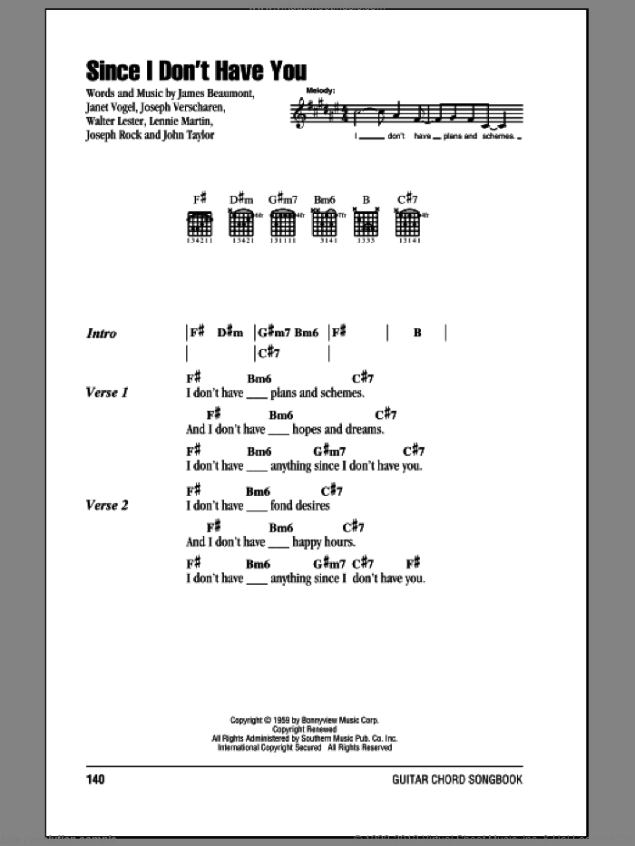 Since I Don't Have You sheet music for guitar (chords) by The Skyliners, James Beaumont, Janet Vogel, John Taylor, Joseph Rock, Joseph Verscharen, Lennie Martin and Walter Lester, intermediate skill level