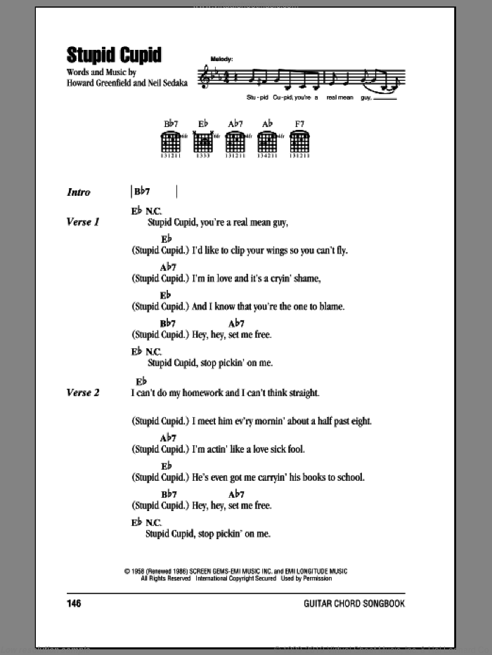 Stupid Cupid sheet music for guitar (chords) by Connie Francis, Howard Greenfield and Neil Sedaka. Score Image Preview.
