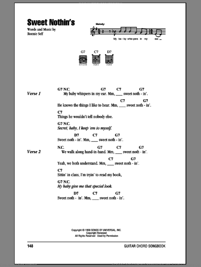 Sweet Nothin's sheet music for guitar (chords) by Brenda Lee and Ronnie Self, intermediate skill level