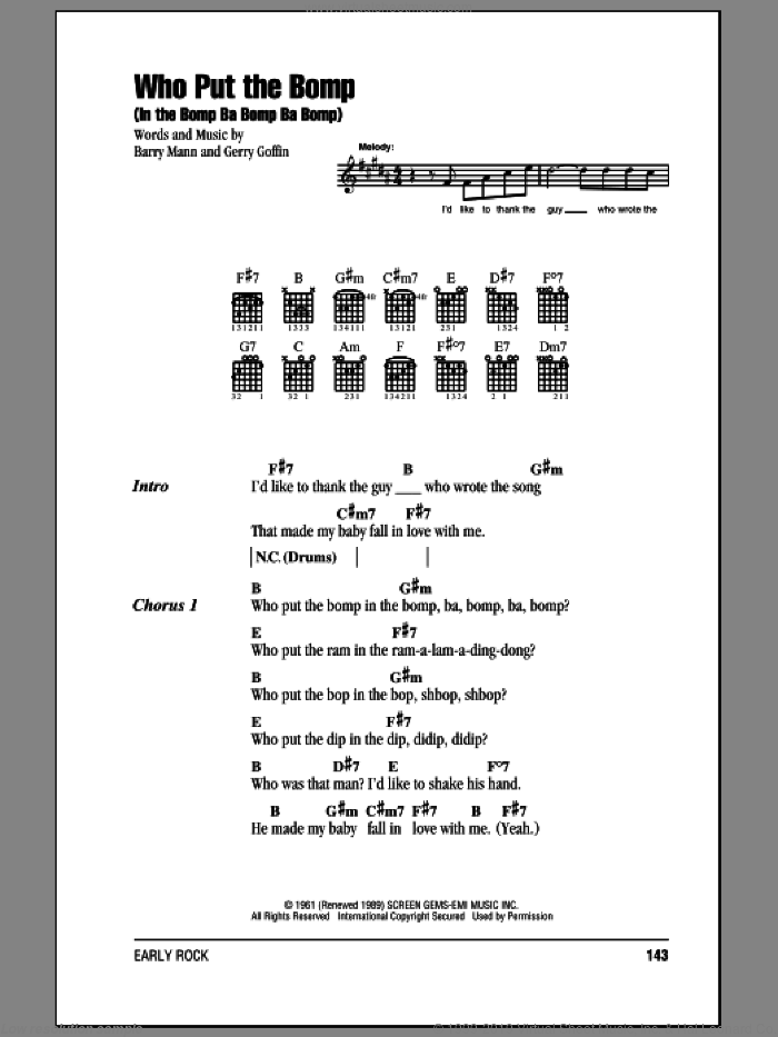 Who Put The Bomp (In The Bomp Ba Bomp Ba Bomp) sheet music for guitar (chords) by Gerry Goffin and Barry Mann. Score Image Preview.