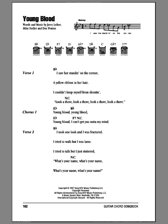 Young Blood sheet music for guitar (chords) by The Coasters, Doc Pomus, Jerry Leiber and Mike Stoller. Score Image Preview.