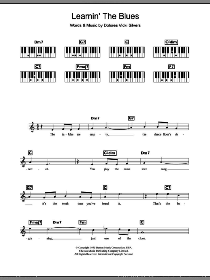 Learnin' The Blues sheet music for piano solo (chords, lyrics, melody) by Dolores Vicki Silvers and Katie Melua. Score Image Preview.